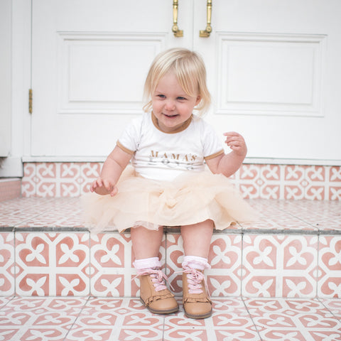 Pink shoelace in tan boot from Sadie Baby