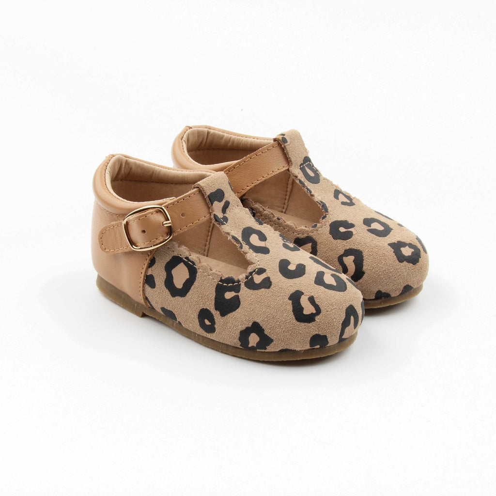 PRE-SALE - Leopard suede with smooth tan heel (hard sole) - Sadie Baby
