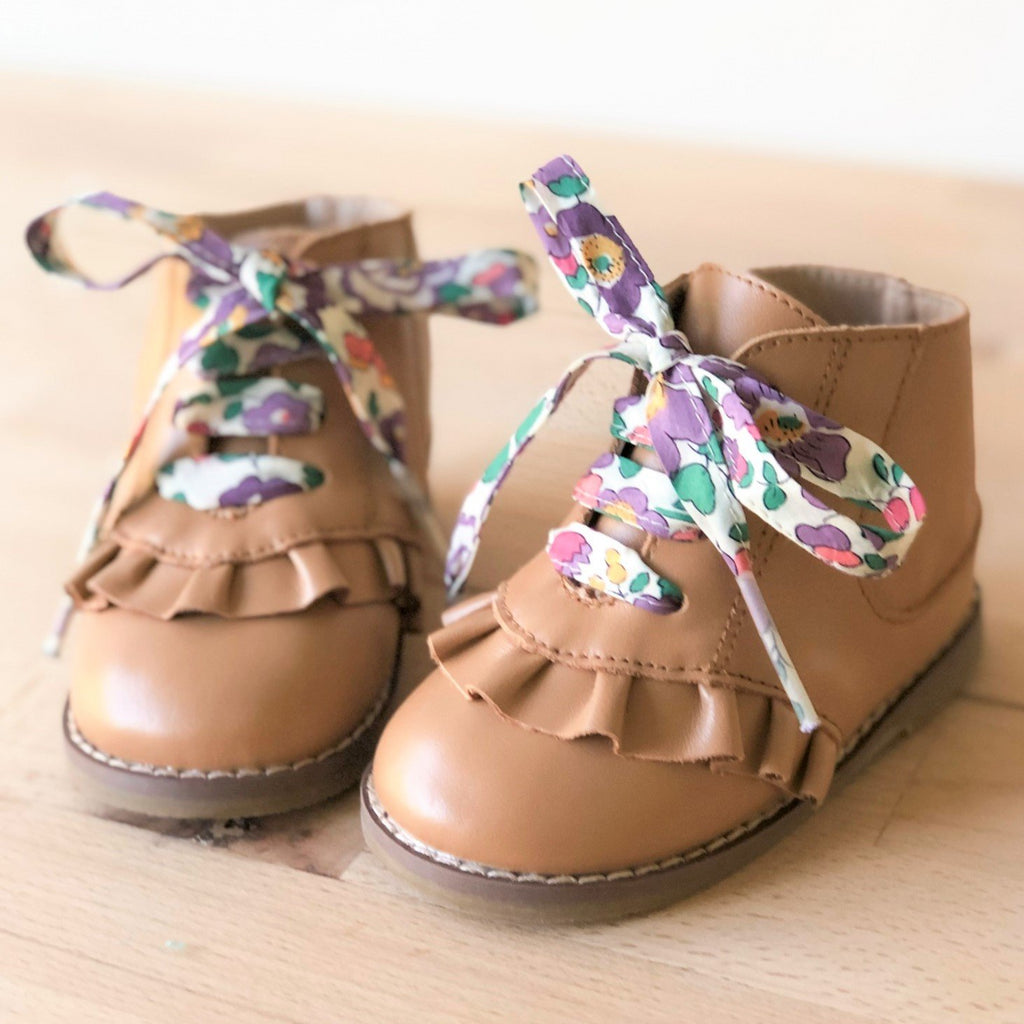Alex boot tan for girls with purple shoelaces - Sadie Baby