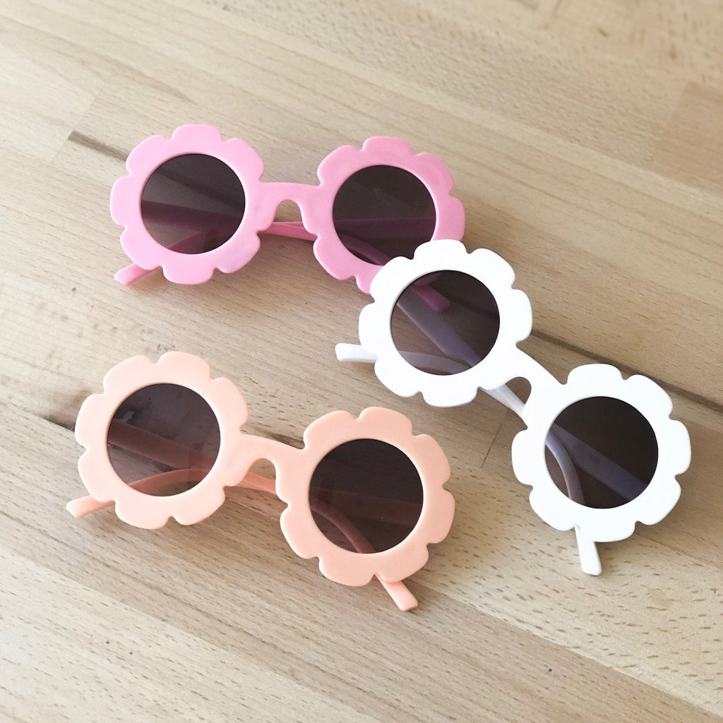 Pink, White & Coral flower sunglasses, toddler sunglasses at Sadie Baby