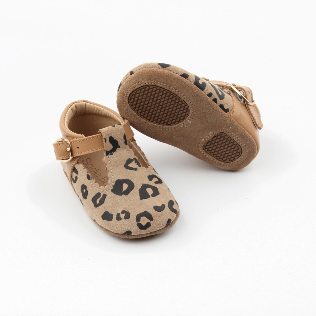 Leopard & tan leather t-bar at Sadie Baby