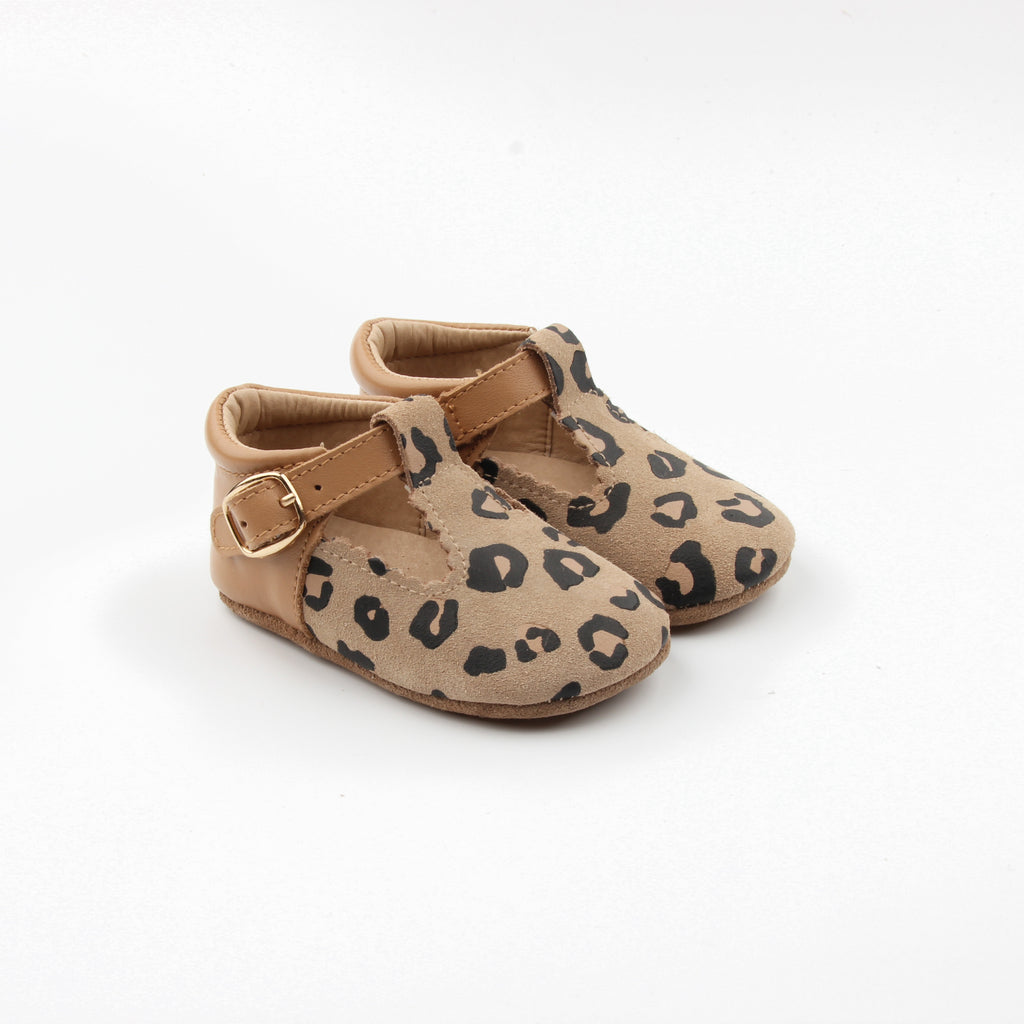 Leopard & Tan toddler leather t-bar at Sadie Baby