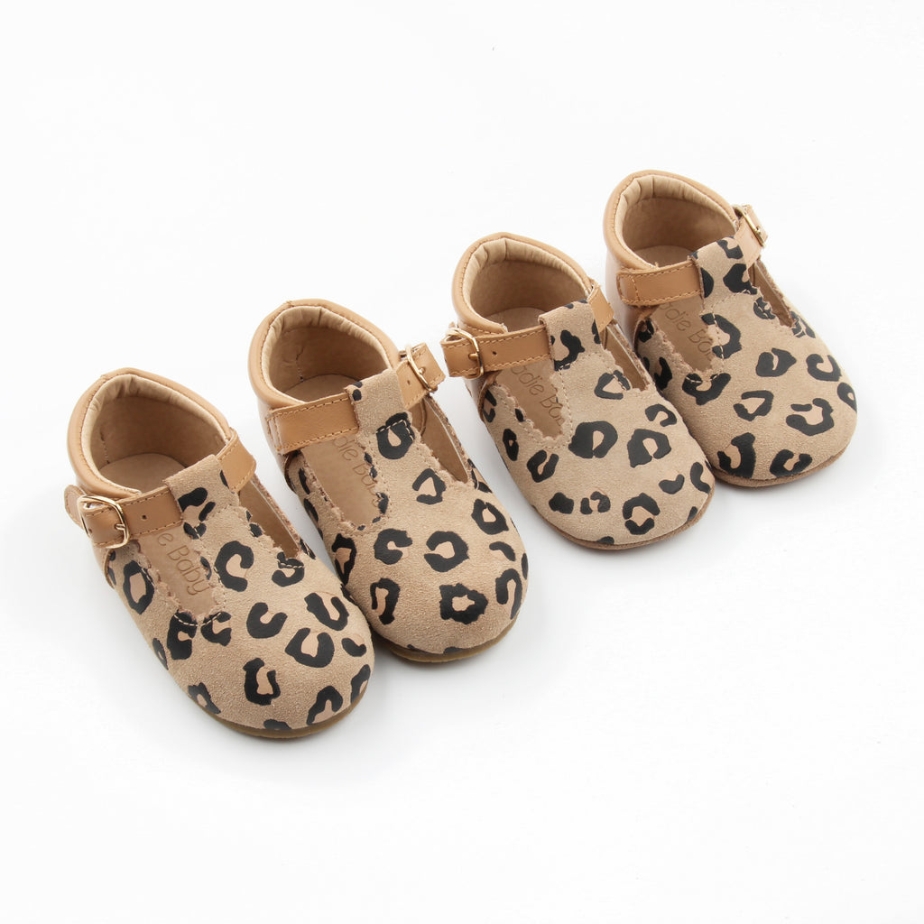 Leopard & Tan Toddler & Childrens leather t-bar at Sadie Baby