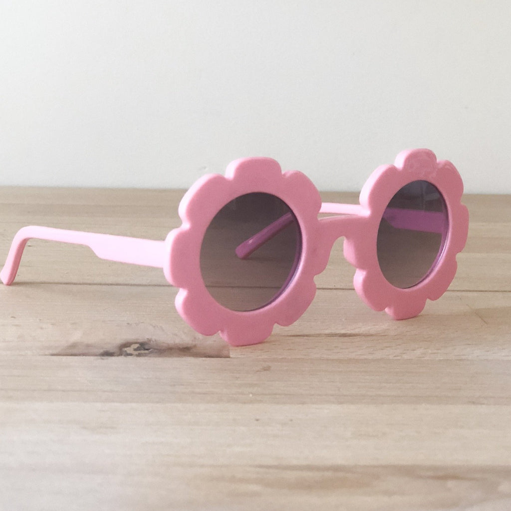 Pink flower sunglasses, toddler sunglasses at Sadie Baby