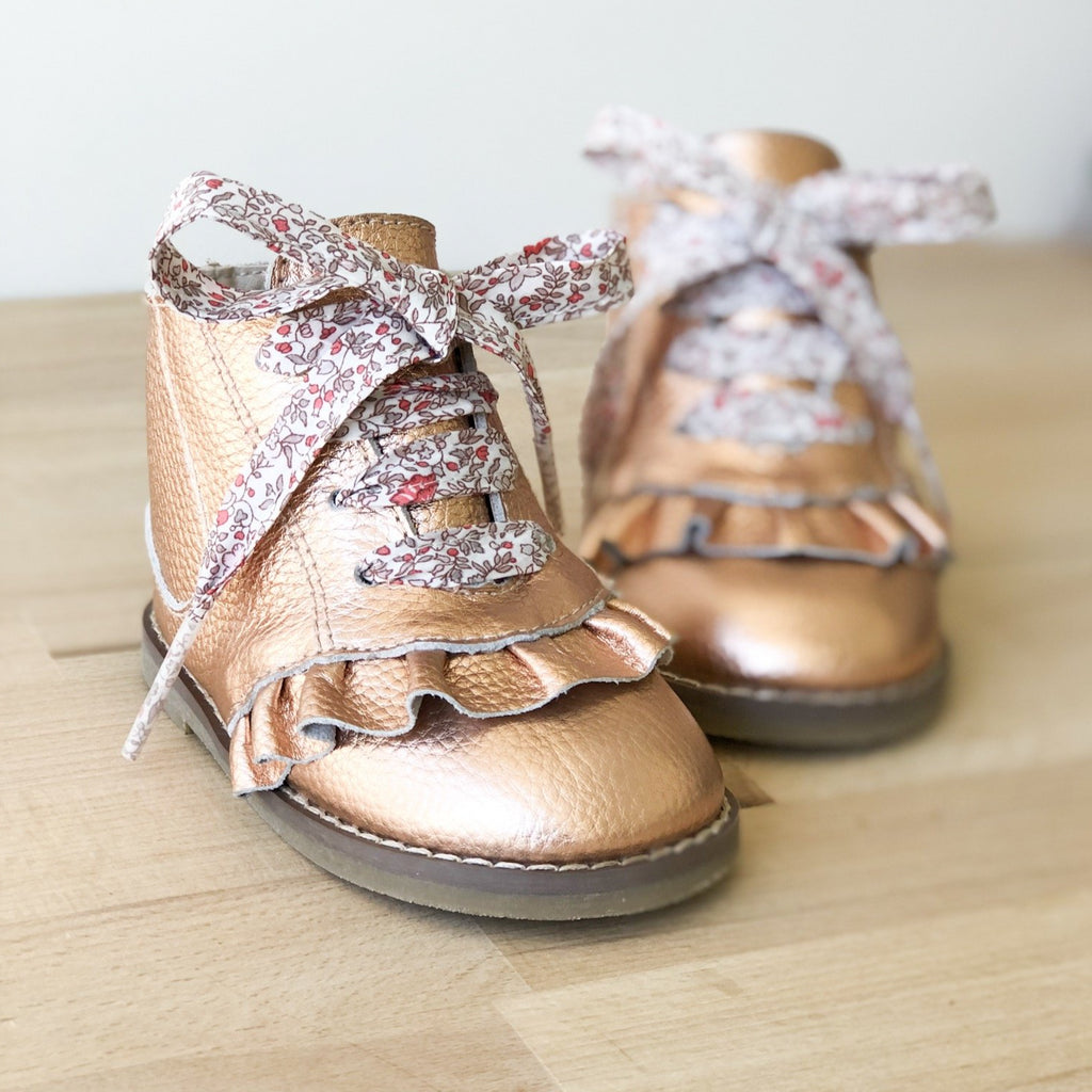 Rose Gold Kids boot with Apricot shoelace - Sadie Baby