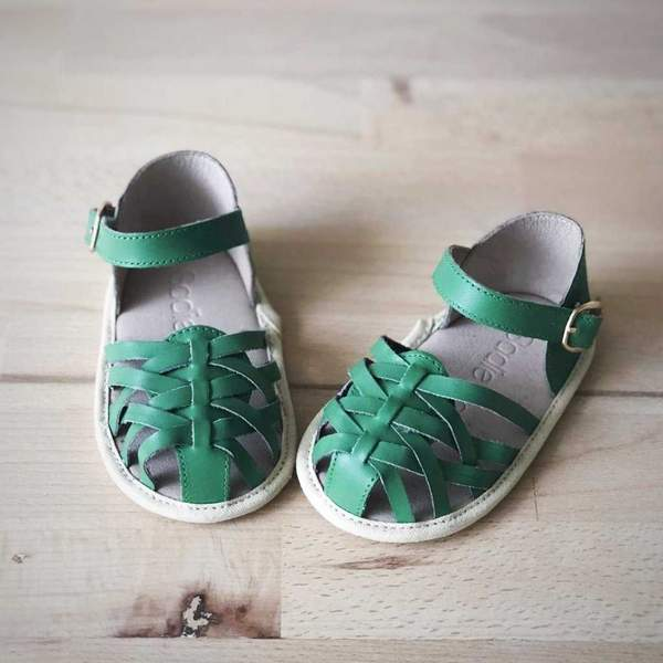 baby girls sandal soft sole shoe leather shoe green front