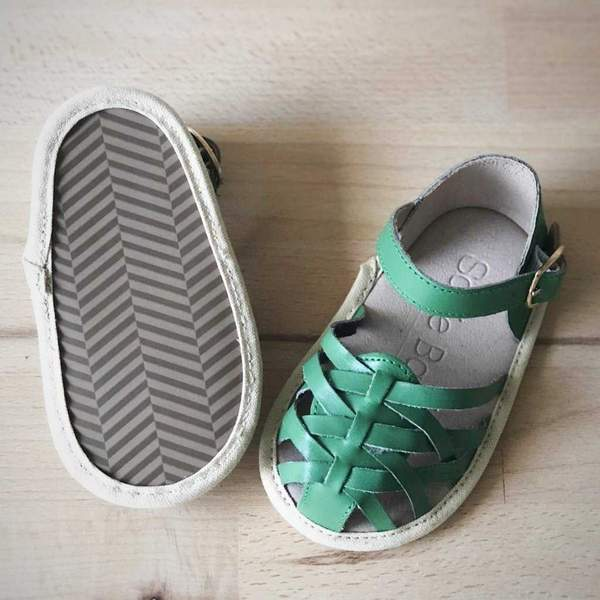 baby girls sandal soft sole shoe leather shoe green sole