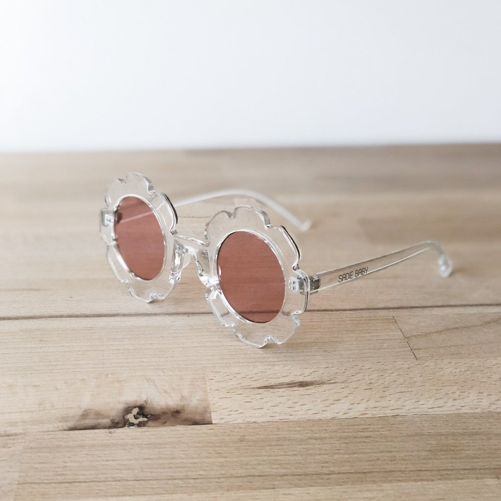 Clear sunglasses with pink lense, girls accessories at Sadie Baby