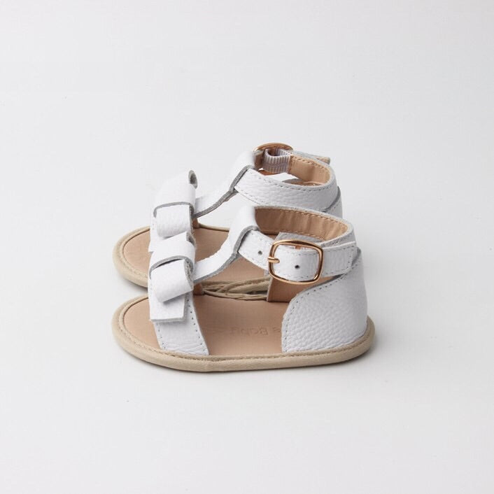White toddler sandals, soft sole baby shoes, Sadie Baby