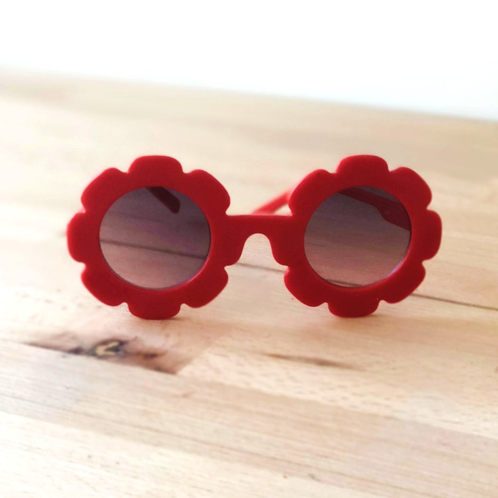 Red flower sunglasses, toddler sunglasses at Sadie Baby