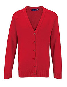 RED KNITTED CARDIGAN FOR JAMES WATT PRIMARY SCHOOL