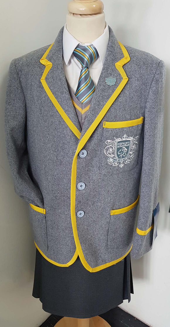 NHSL Grey Wool Blazer with Yellow Braiding and Logo for Nishkam High School LONDON Only