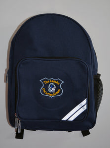 Navy Junior Back Pack with Logo for Lambs Christian School