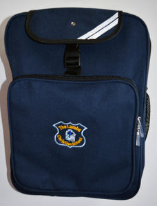 Navy Large Back Pack with Logo for Lambs Christian School