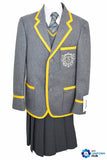 Grey Wool Blazer with Yellow Braiding and Logo for Nishkam High School