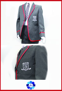 Grey Blazer with Red Braiding and Logo for Nishkam Primary School