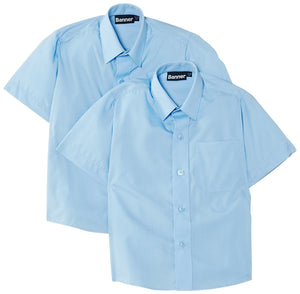 BLUE TWIN PACK BOYS SHORT SLEEVE SHIRTS FOR LAMBS CHRISTIAN SCHOOL