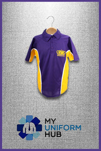 Purple and Yellow PE Polo with logo for King Solomon High School