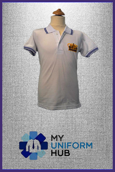 White Polo Shirt with Logo for King Solomon Primary