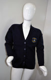 Navy Cardigan with Logo, For Lambs Christian School