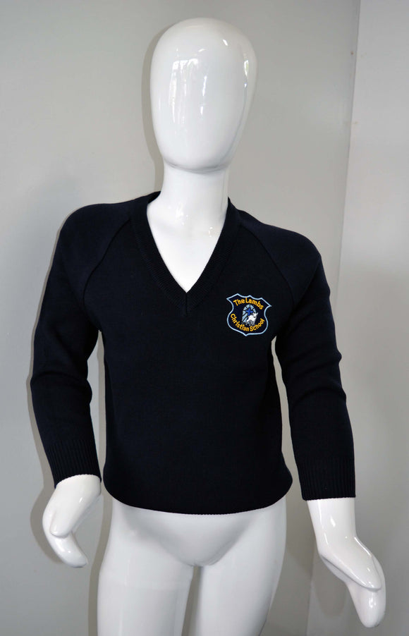 Navy Jumper with Logo, For Lambs Christian School