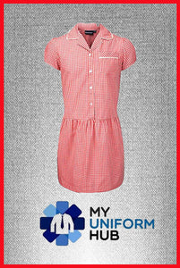 Red Gingham Check Summer Dress, Ideal for Nishkam, James Watt and other schools