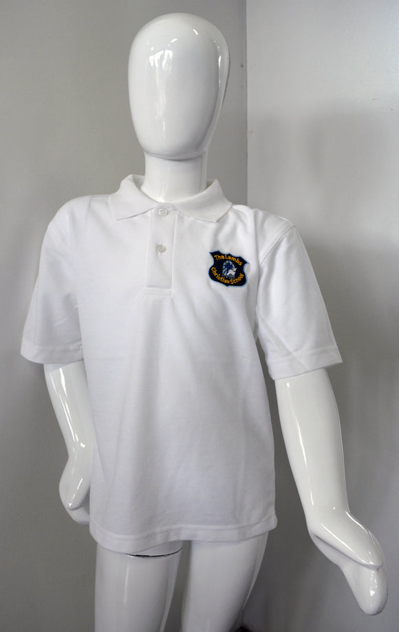 White Polo with Logo for Lambs Christian School