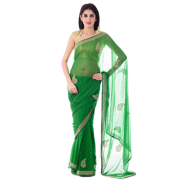 Green Chiffion Cut-Dana And Stone Work Saree With Paisley Motif and Blouse Piece - Shri Krishnam