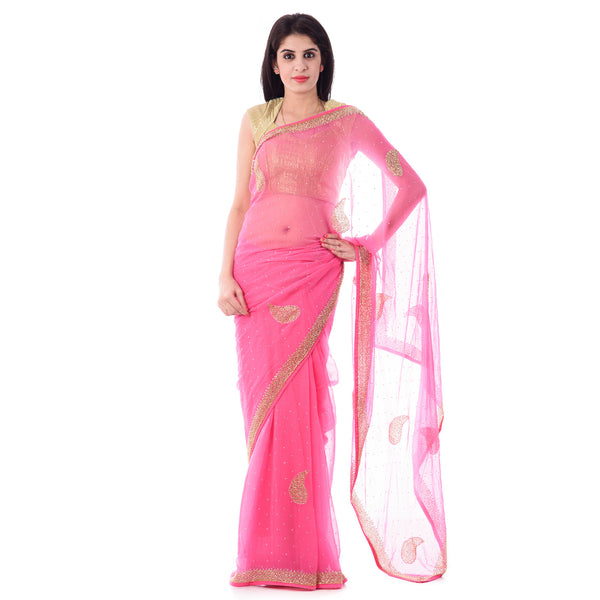 Pink Chiffion Cut-Dana And Stone Work Saree With Paisley Motif and Blouse Piece - Shri Krishnam