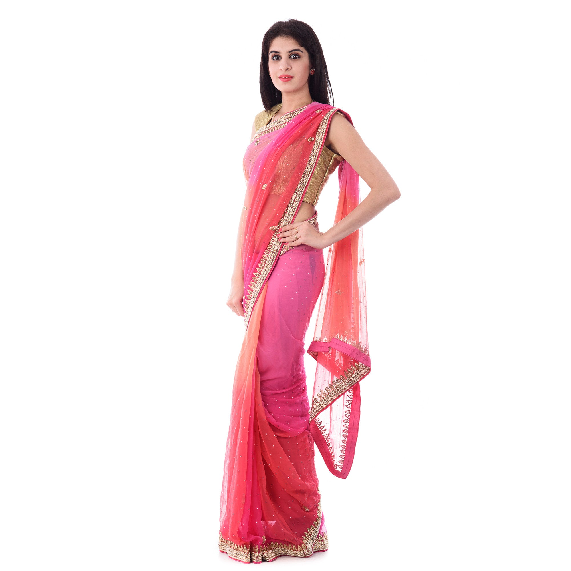 Multi Color Chiffon Moti and Stone work Saree with Blouse Piece - Shri Krishnam