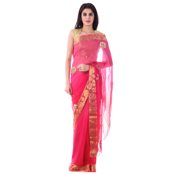 Pink Gajari Shaded Chiffion Saree With Intricate Aari Work Flower Motif and Border With Blouse Piece - Shri Krishnam