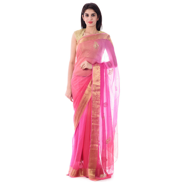 Multi Pink Color Zari Border Chiffion Saree With Intricate Aari Work Paisley Motif and Border With Blouse Piece - Shri Krishnam