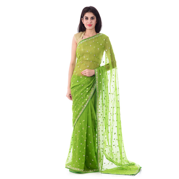 Multi Green Color Chiffon Mirror and Resham Work Saree With Blouse Piece - Shri Krishnam