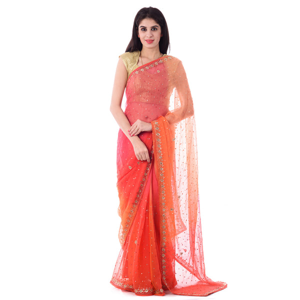 Multi Color Chiffon Mirror and Resham Work Saree With Blouse Piece - Shri Krishnam