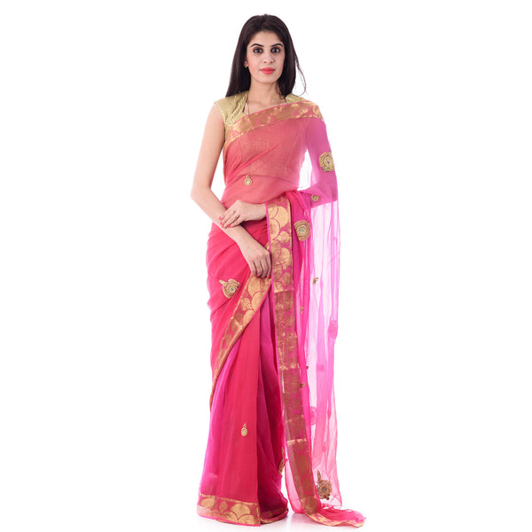 Multi Color Pink Zari Border Chiffion Intricate Antique work saree With Blouse Piece - Shri Krishnam