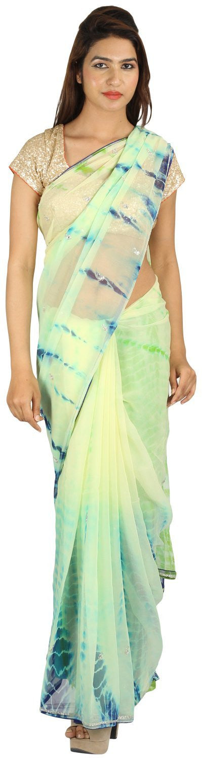 Shri Krishnam Women's Chiffion Cut-Dana Work Saree (Multi Colour_Free Size) - Shri Krishnam