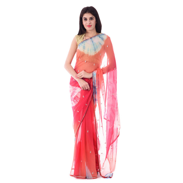 Multi Color Tie-Dye Saree with Paisley Motif Cut-Dana Work With Blouse Piece - Shri Krishnam