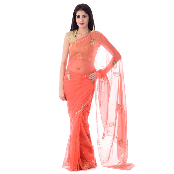 Dark Peach/Orange Color Chiffion Saree With Intricate Aari Work Paisley Motif and Border With Blouse Piece - Shri Krishnam