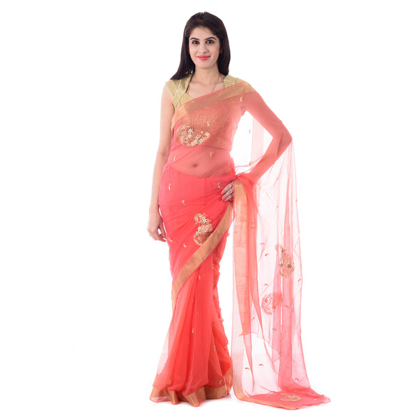 Dark Peach Color Zari Border Chiffion Saree With Intricate Aari Work Paisley Motif With Blouse Piece - Shri Krishnam