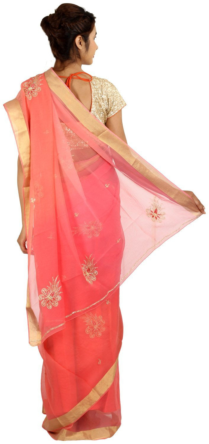 Shri Krishnam Women's Chiffon Saree Moti and Resham Work (Multi Colour_Free Size) - Shri Krishnam