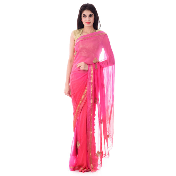 Multi Color Pink/Peach Shaded Resham Zari Border Chiffon Saree with Antique Beads and Resham Work and Blouse Piece - Shri Krishnam