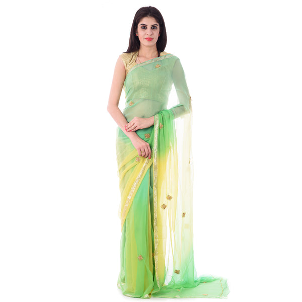 Multi Green Zari Chiffon Intricate Antique Beads work Saree With Blouse Piece - Shri Krishnam