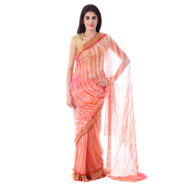 Multi Color Zari Border Tie-Dye/Shibori Saree with Blouse Piece - Shri Krishnam