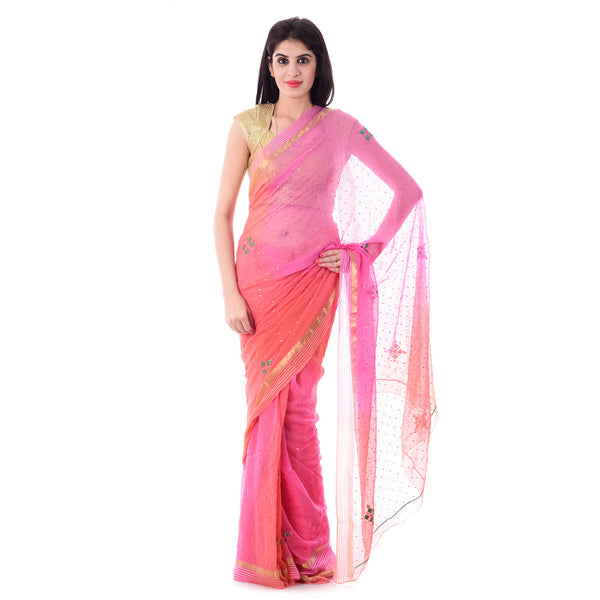 Multi Color Pink/Peach Shaded Resham Zari Border Chiffon Saree Mirror and Resham Work and Blouse Piece - Shri Krishnam