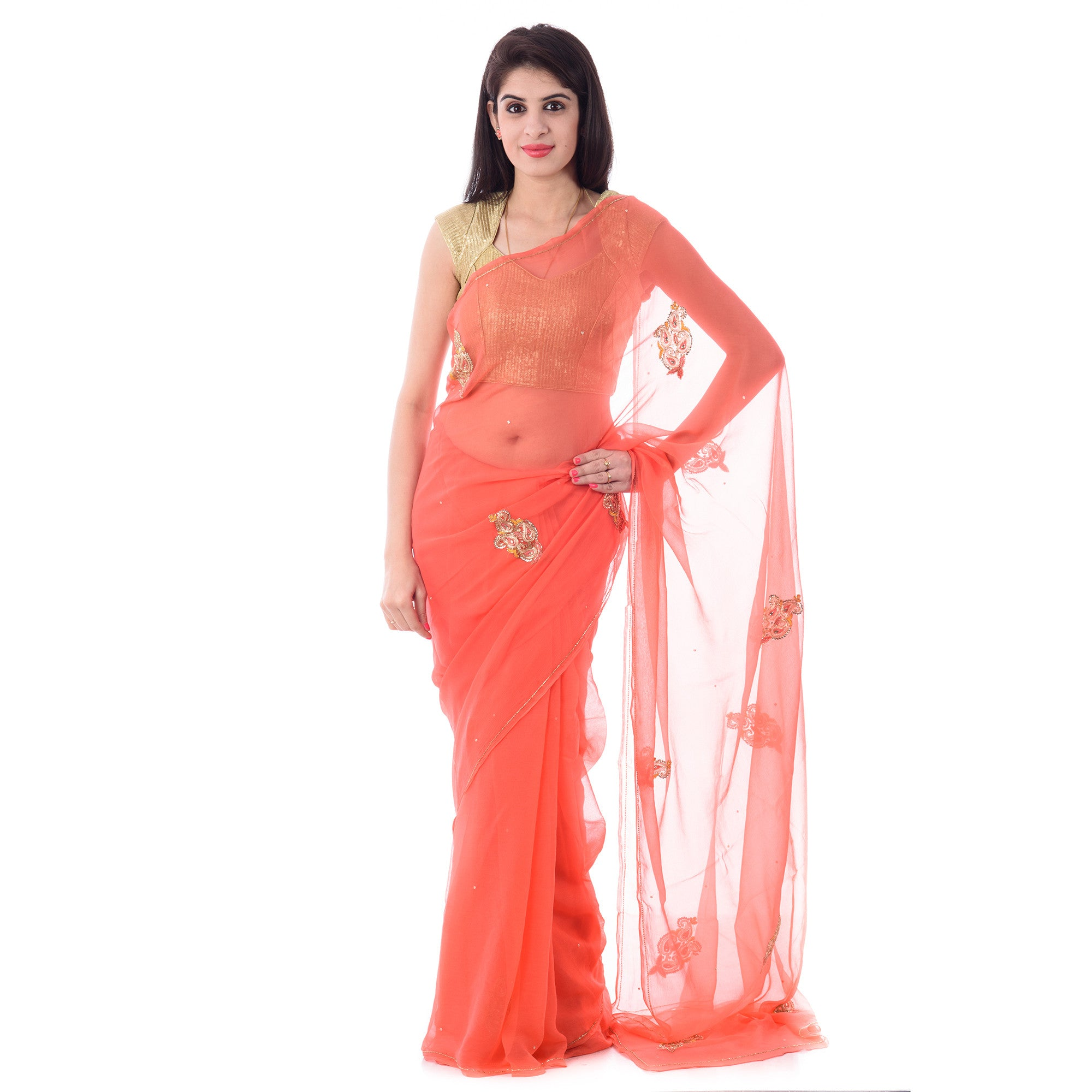 Peach Chiffion Intricate Aari and Resham Work Saree With Blouse Piece - Shri Krishnam