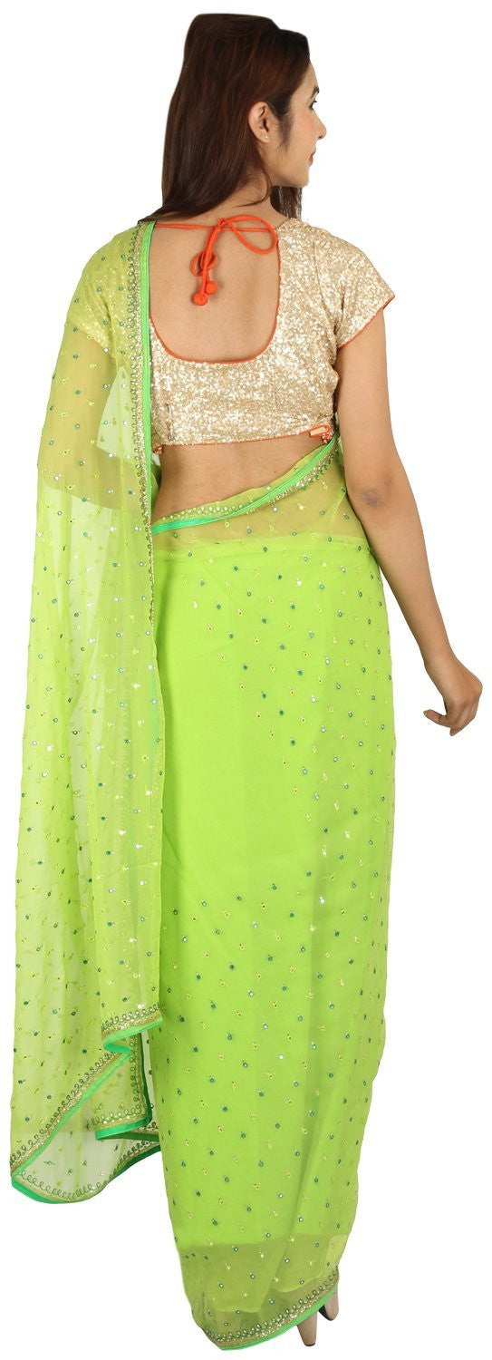 Shri Krishnam Women's Chiffion Mirror With Resham Work Saree (Green_Free Size) - Shri Krishnam