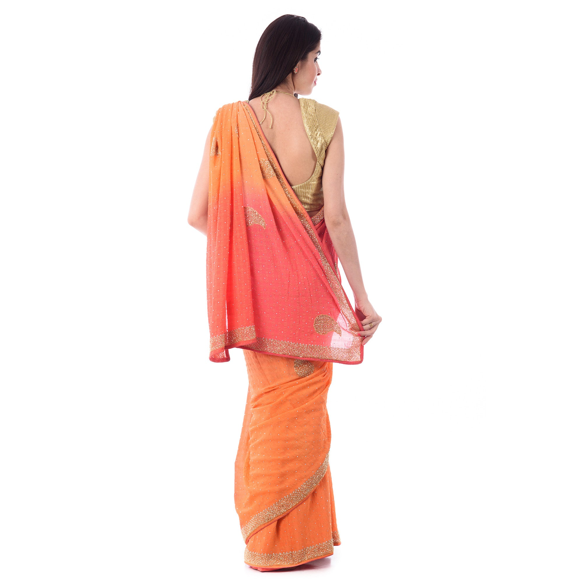 Malti Zari Chokdi Cut-Dana Work Saree With Blouse Price - Shri Krishnam