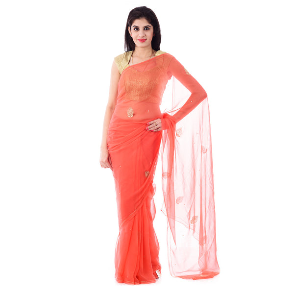 Dark Peach Chiffion Intricate Aari and Cut-Dana Work Saree With Blouse Piece - Shri Krishnam
