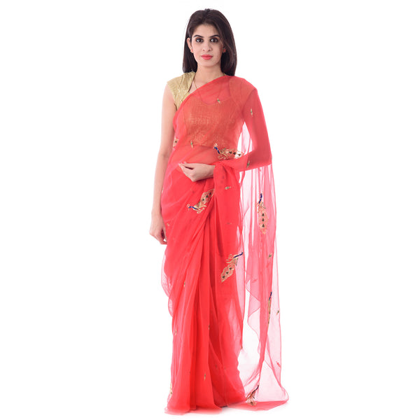 Dark Peach Chiffion Intricate Aari Work Saree With Blouse Piece - Shri Krishnam