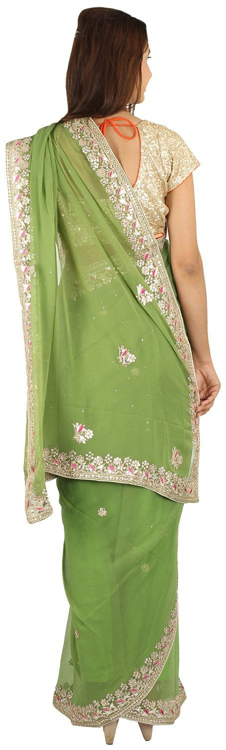 Shri Krishnam Women's Georget Gota And Kundan Work Saree  (Green_Free Size) - Shri Krishnam